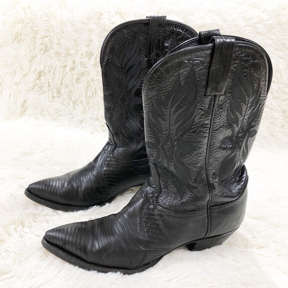 8bca6612650 Tony Lama lizard & leather black cowboy boots 9.5